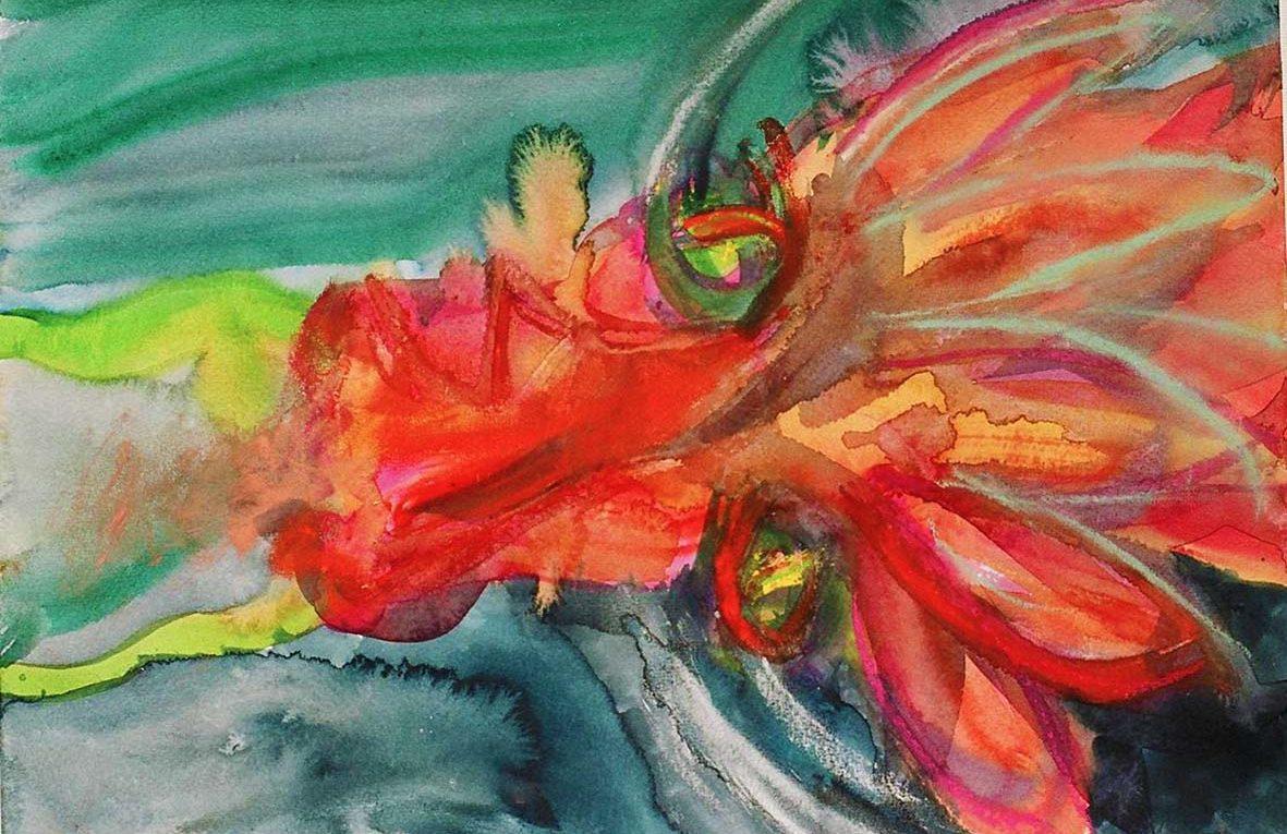 Aquarell: roter drachenkopf von oben gesehen