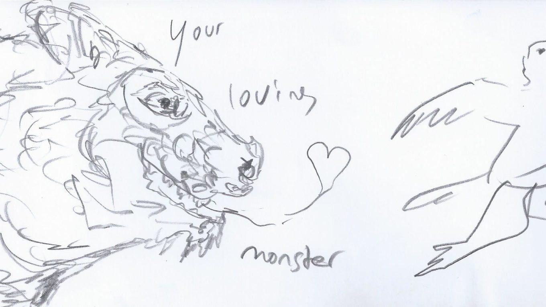 Zeichnung: ein Vogel fliegt vor einem Monster davon